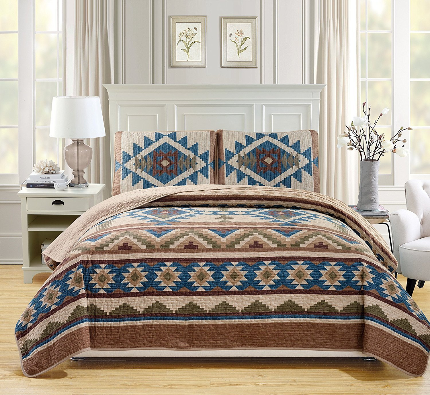 Western Southwestern Native American Tribal Navajo Design 3 Piece Multicolor Beige Taupe Brown Blue Green Oversize Bedspread Quilt Coverlet Set