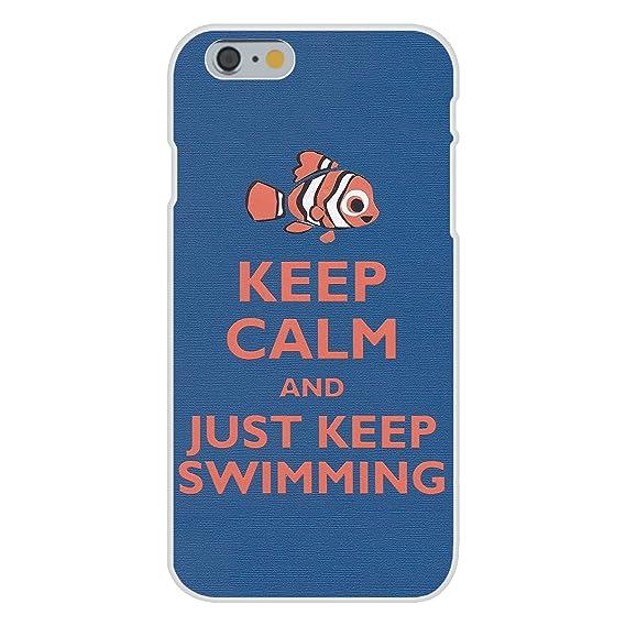 buy popular f4c4e e1b41 Apple iPhone 6 Custom Case White Plastic Snap On - Keep Calm and Just Keep  Swimming Clown Fish