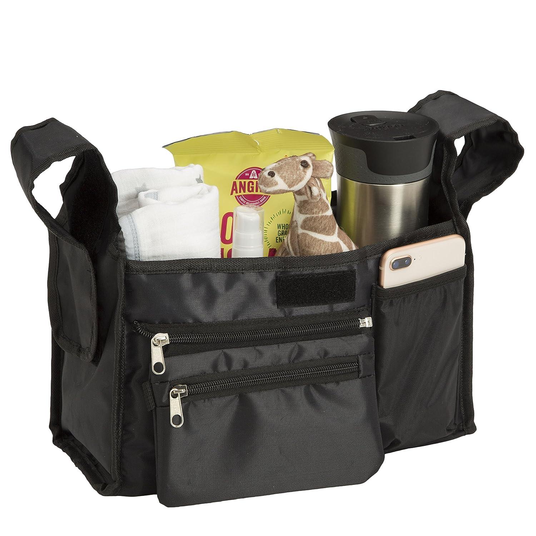 Stroller Organizer Caddy Bag – Large Storage Pockets for iPhones, Wallets, Bottles, Diapers, Wipes - Black, Delta Children SA2002-001