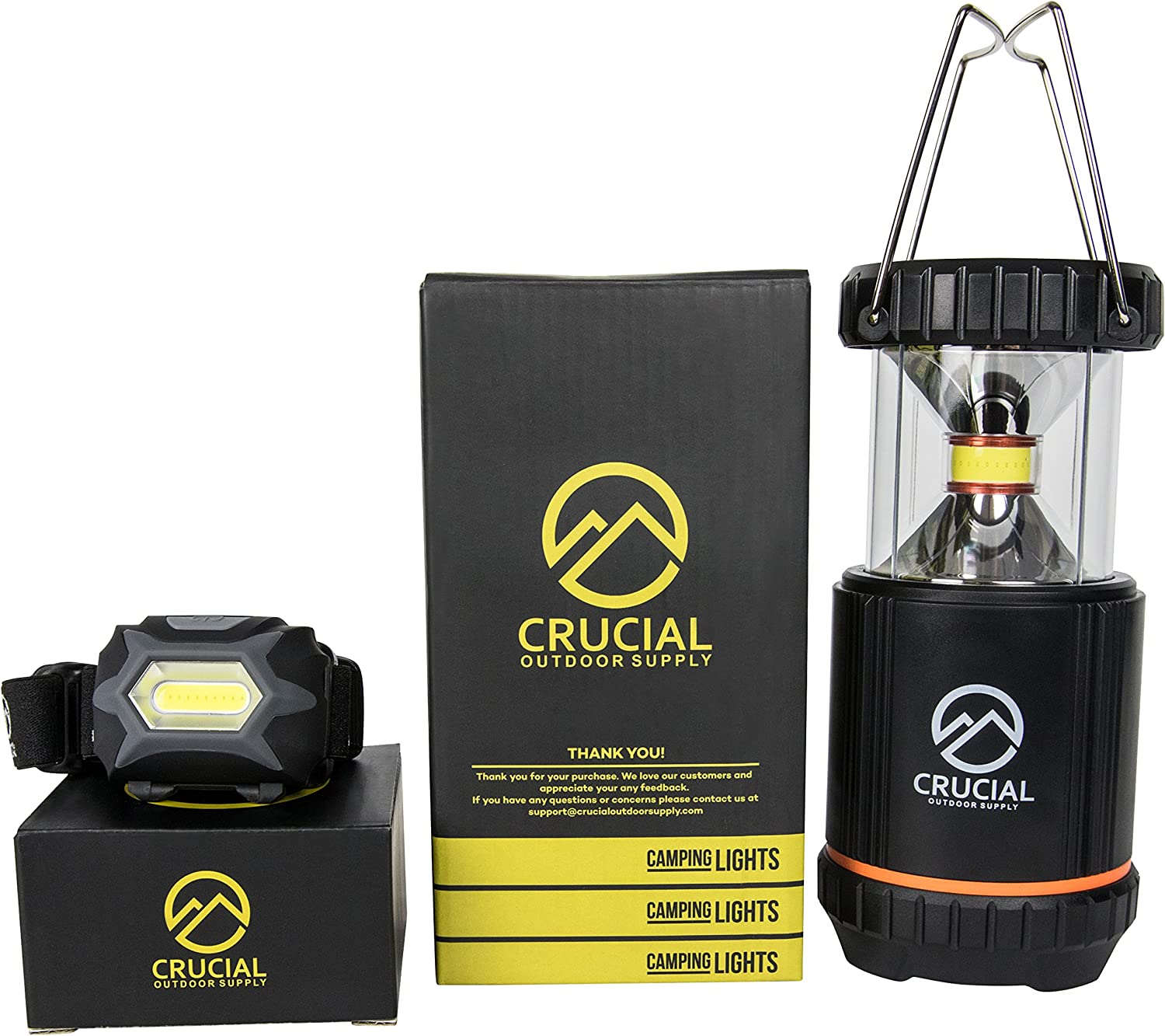Ultimate LED Camping Accessories Lantern Bundle with Powerful Patented COB Lamp and Headlamp- Survival Kit Gear for Emergencies. Working Light, Reading Light – Great for all Outdoor Activities
