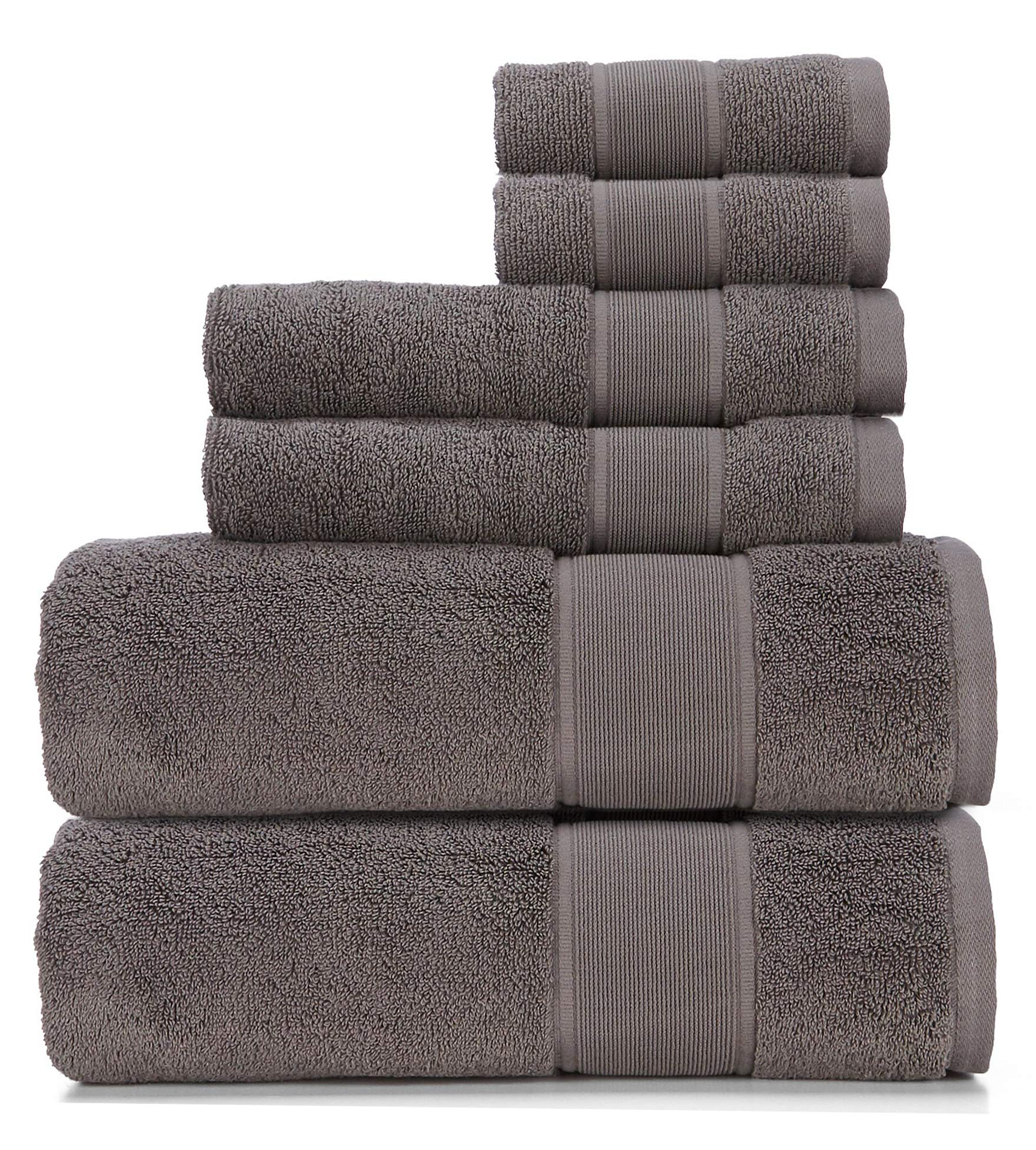 Ralph Lauren Sanders Towel 6 Piece Set True Charcoal - 2 Bath Towels, 2 Hand Towels, 2 Washcloths