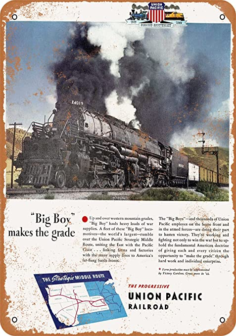 RAILROAD CROSSING = Locomotive Union Pacific Garage Shop Embossed Tin METAL SIGN