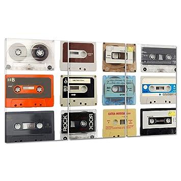 Cuadro sobre lienzo Canvas - ConKrea - Listo para colgar - Casetes - Música Vintage Design Music: Amazon.es: Hogar
