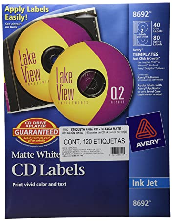 Amazon.com : Avery CD Labels, Matte White, 40 Disc Labels and 80 ...