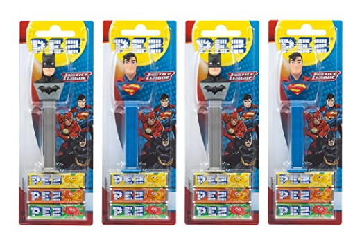 PEZ set de dispensadores Justice League (4 dispensadores PEZ / 2 surtidos con 3 recargas
