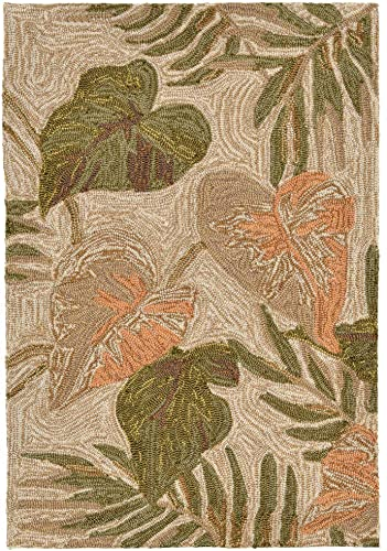 Liora Manne Ravella Tropical Leaf Indoor Outdoor Rug, 2 X 3 , Beige and Green