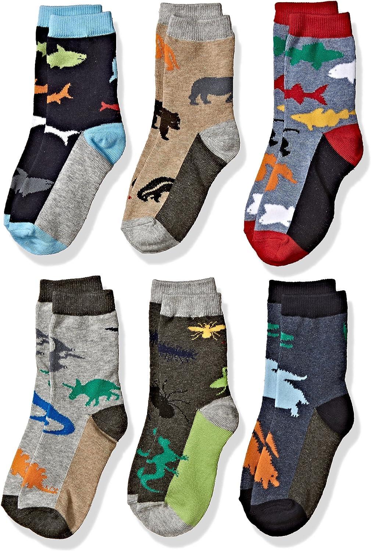 Jefferies Socks Little Boys Dinosaur Guitar and Shark Socks Pack of 6