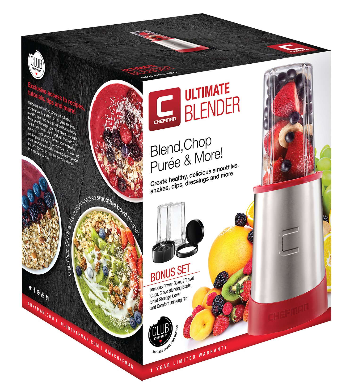Chefman Ultimate Personal Smoothie Blender, Single Serve, Stainless Steel Blending Blade, 2 Travel Cups with Lids, Solid Storage Cover and Comfort Drinking Rim, 6 Piece - RJ28-6-SS-Red by Chefman (Image #8)