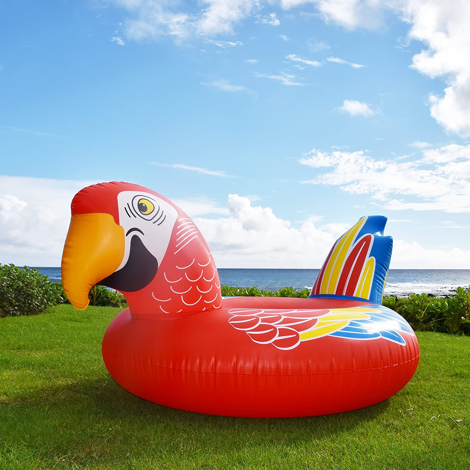 GoFloats Tropical Parrot Pool Float Party Tube for Adults and Kids Float in Style