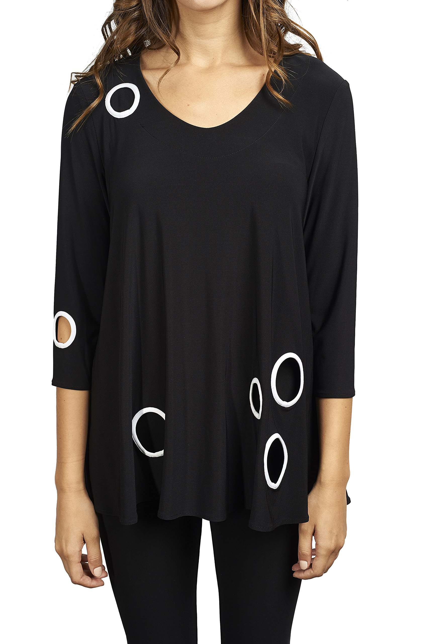 Joseph Ribkoff Black Tunic Top with White Circle Cut Outs Style 173061 - Size 16