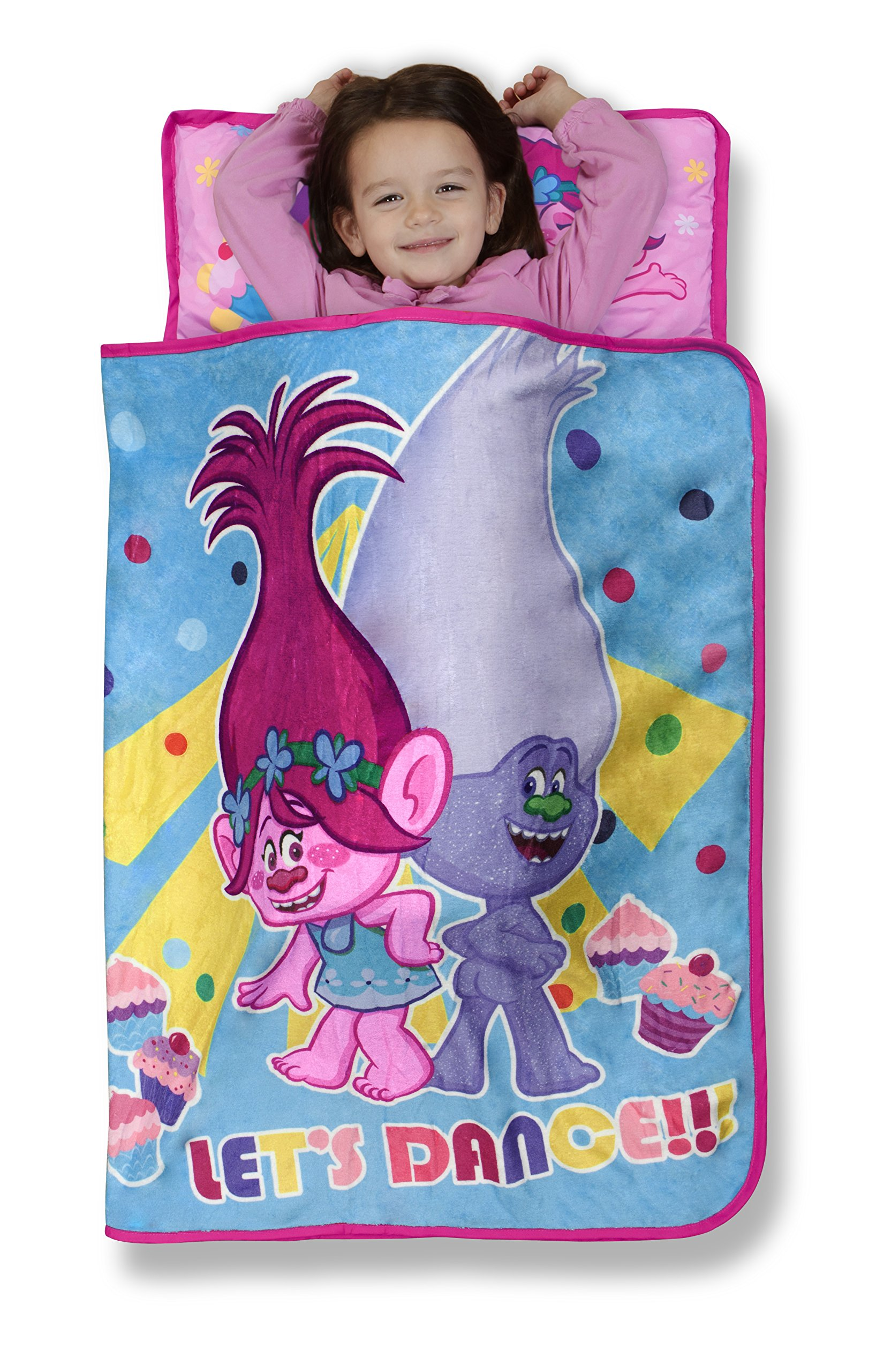 Trolls Cupcakes and Rainbows Toddler Nap Mat - Includes Pillow & Fleece Blanket - Great for Boys and Girls Napping at Daycare, Preschool, Or Kindergarten - Fits Sleeping Toddlers and Young Children by Trolls