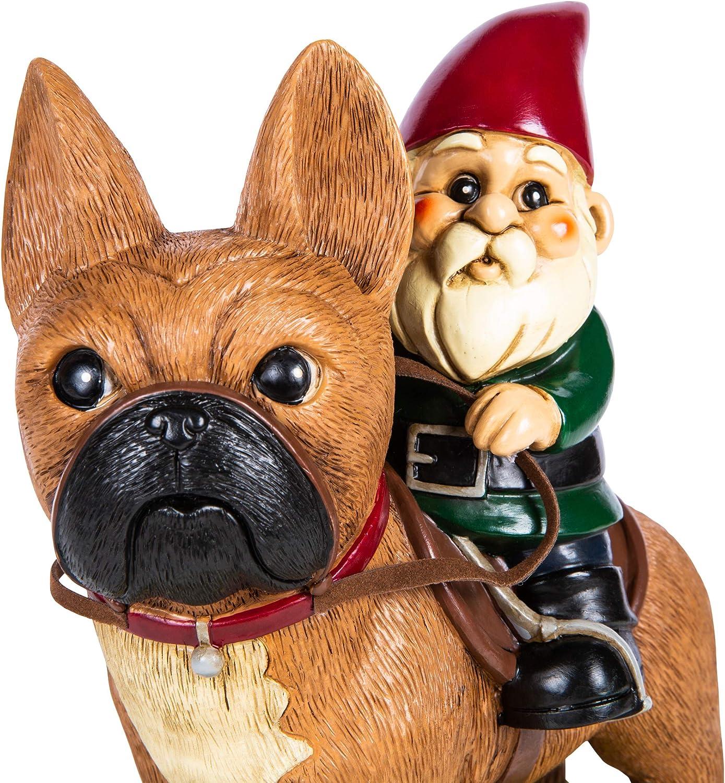KwirkWorks Garden Gnome - French Bulldog Lawn Statue Figurine - 9 inches Tall