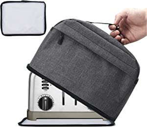 VOSDANS 4 Slice Toaster Cover with Removable Bottom 2-in-1 Toaster Bag with Pockets Toaster Storage Bag with Handle, Dust and Fingerprint Protection, Machine Washable, Dark Gray (Patent Design)