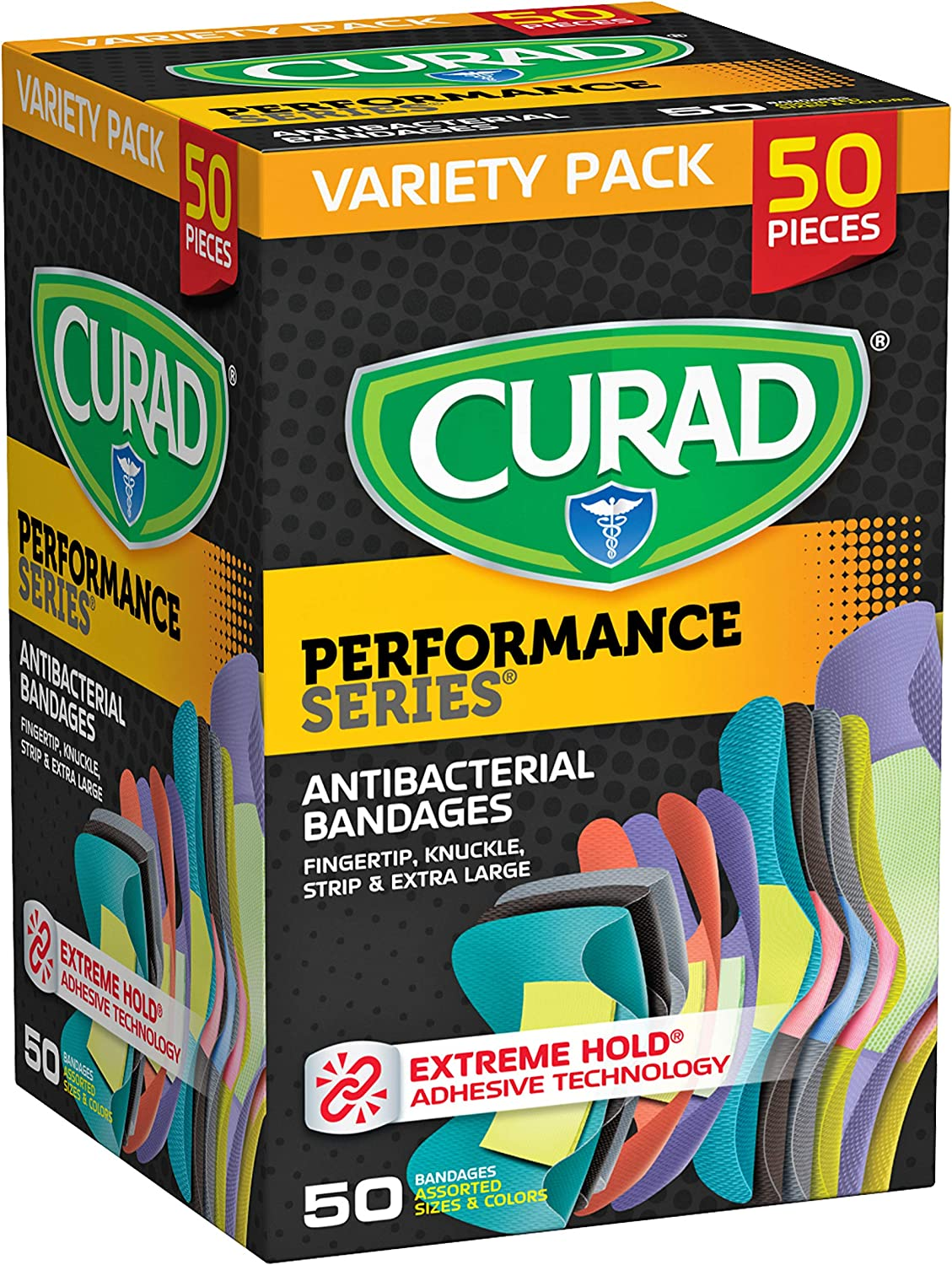 Curad Performance Series Adhesive Bandages, Assorted Variety Pack Includes Standard, XL, Finger & Knuckle Bandages, 50Count: Health & Personal Care