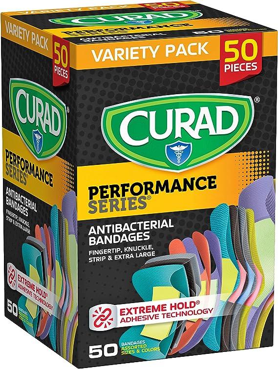 30 Count Pack of 8 Curad Performance Series Antibacterial Adhesive Bandages