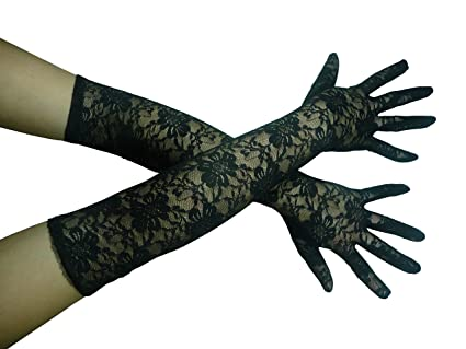Damen lange Handschuhe Satin Oper Ball rot