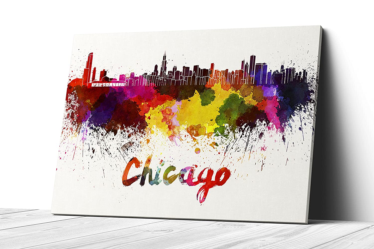 Watercolor City Splash Skyline Wall Art Canvas Print Chicago