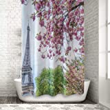 Traveling Twins Hookless Shower Curtain, Hotel-Quality Polyester Waffle Fabric, Water-Resistant, Anti-Mold & Anti-Mildew, Bathtub Curtain - Paris, France Eiffel Tower (72 x 72 Inches)