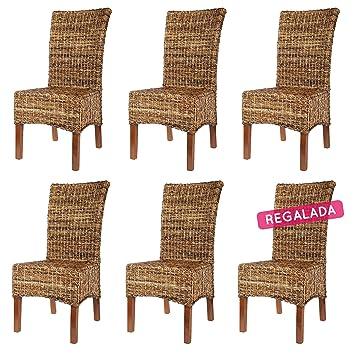 Rotin Design REBAJAS : -66% 6 sillas de ratan Elips marrones ...