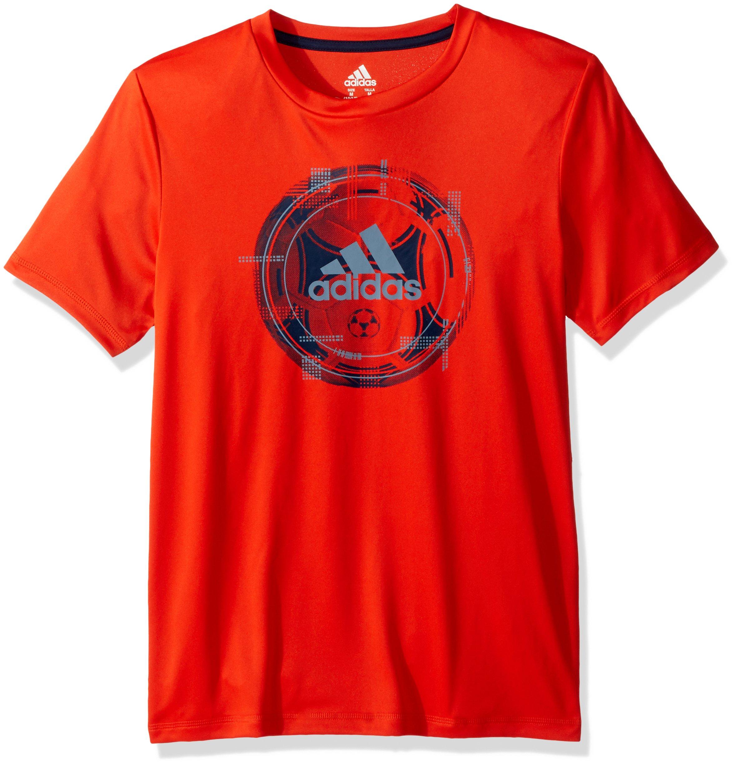 adidas Big Boys' Short Sleeve Graphic Tee Shirt, Bold Orange Adi 1, L(14/16)