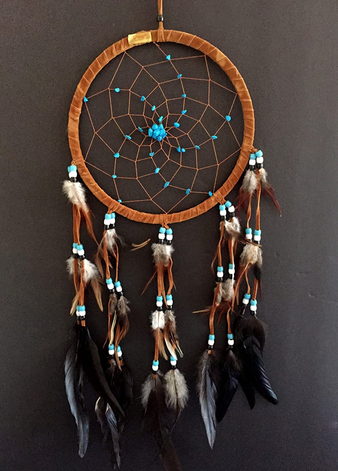 """Dream Catcher Dreamcatcher - Brown Suede with Turquoise Details - Handmade, Large Size - 28"""" Long x 9"""" Diameter - OMA Brand"""