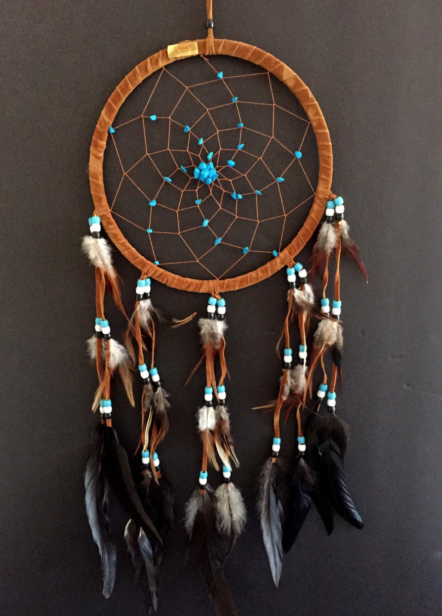 Dream Catcher DreamCatcher - BROWN SUEDE WITH TURQUOISE DETAILS - Handmade, LARGE SIZE - 28'' Long x 9'' Diameter - OMA BRAND