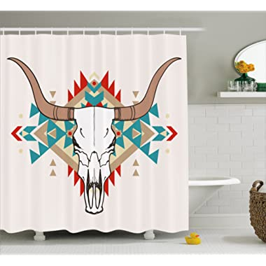 Ambesonne Western Shower Curtain, Bull Skull Illustration with Ethnic Ornament Tribal Geometric Aztec Style, Fabric Bathroom Decor Set with Hooks, 70 Inches, Warm Taupe Red Blue