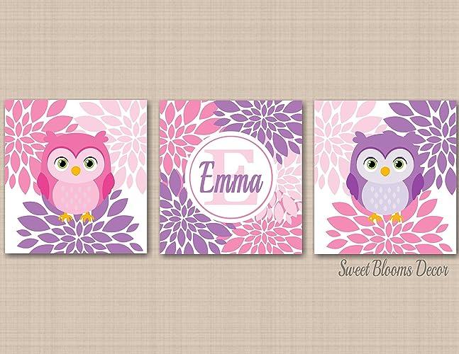 Owl Nursery Wall Art Lavender Purple Pink Owl Girl Baby Room Décor Floral Kids  Room Bedroom Wall Art Monogram Owl Baby Room UNFRAMED Set Of 3 PRINTS (NOT  ...