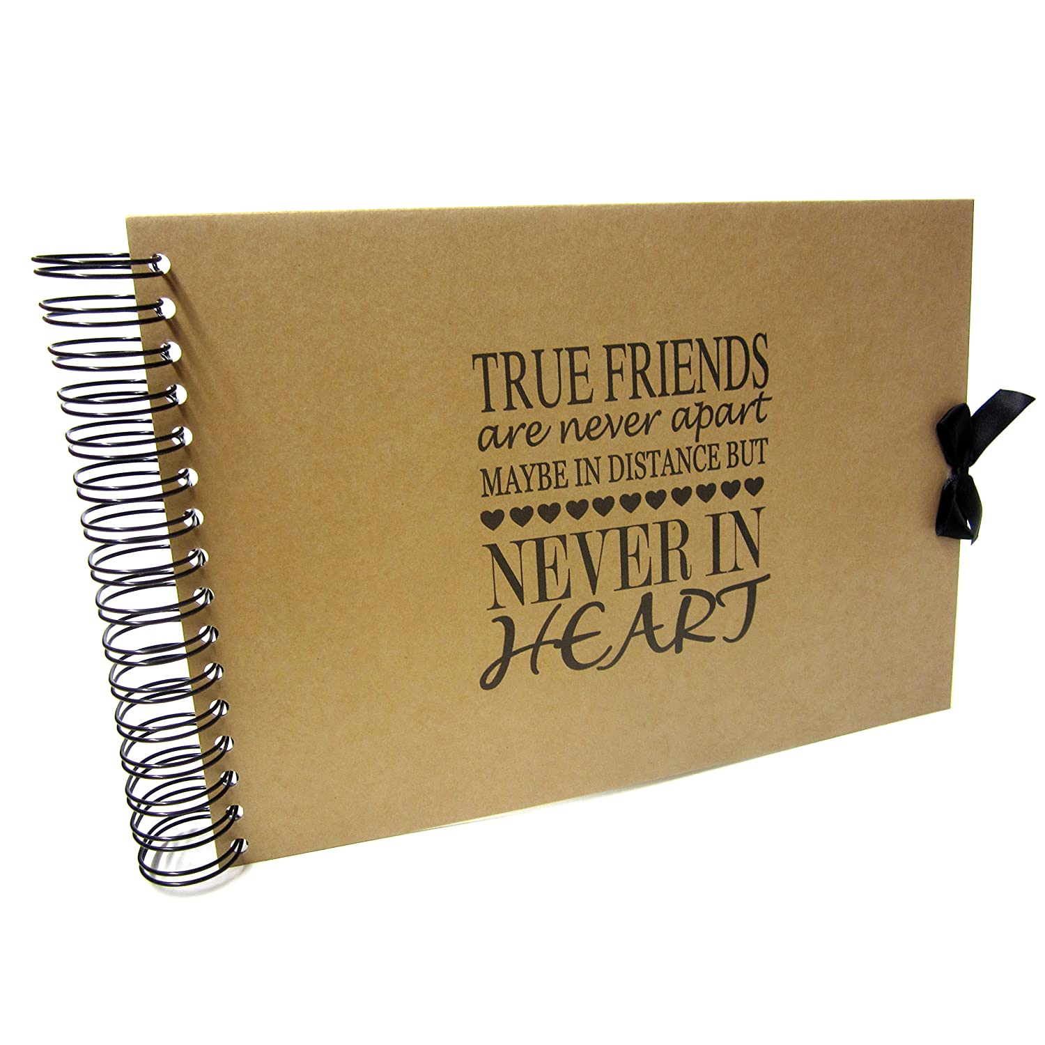 A5 A4 True Friends are Never Apart Scrapbook, Landscape, Card Pages, Photo Album, Keepsake (A5 (Kraft Pages)) Scrapbook Wonderland