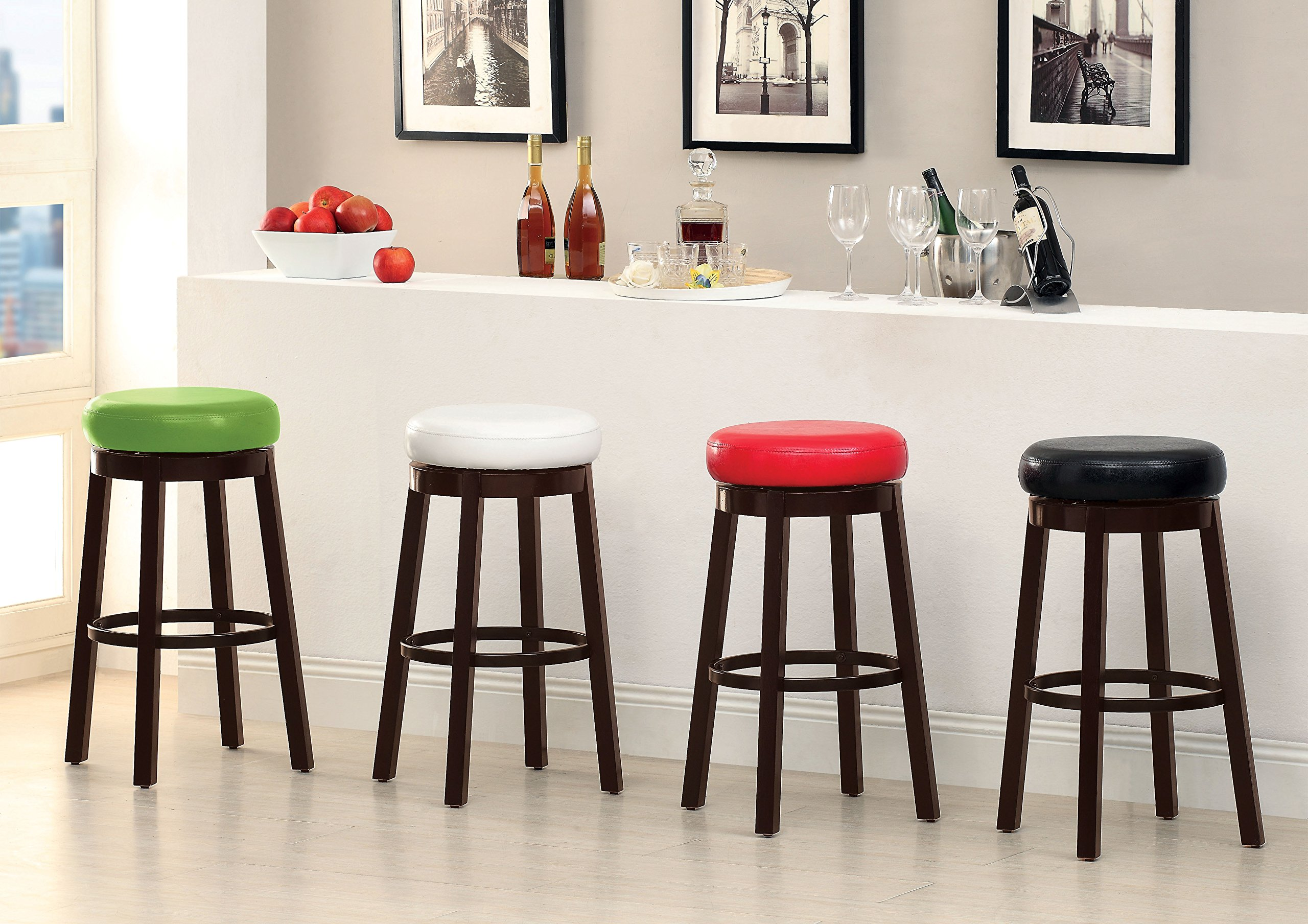 Furniture of America Barthe Leatherette and Wood Swivel Bar Stool, Green, Set of 2 by Furniture of America