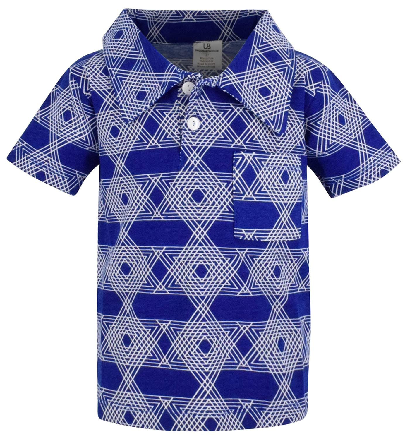 Unique Baby Boys Star of David Hanukkah Button Up Collared Shirt
