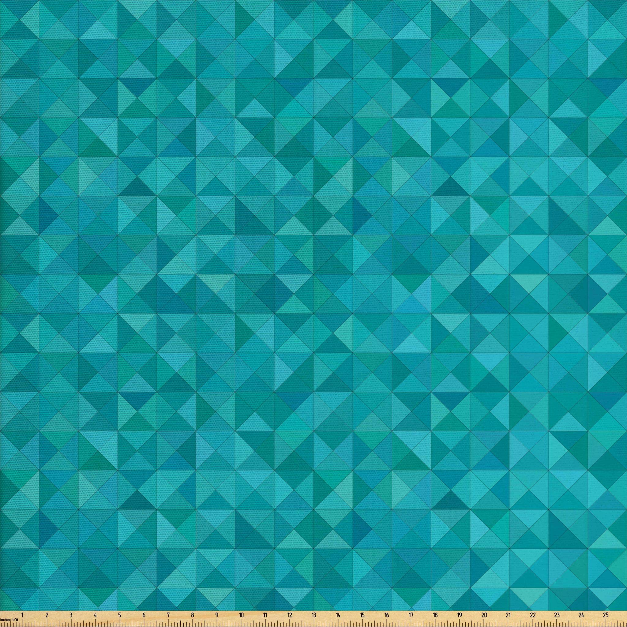 Ambesonne Teal Fabric by The Yard, Geometrical Shapes Triangles Squares Modern Abstract Art Different Shades of Blue, Decorative Fabric for Upholstery and Home Accents,10 Yards, Turquoise Aqua