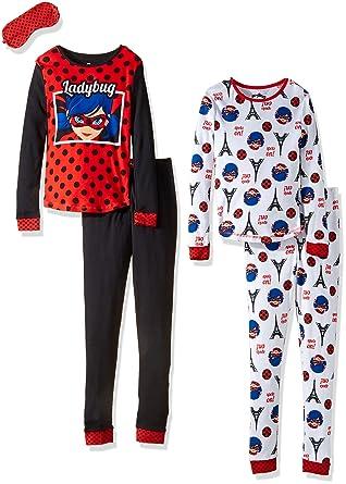 Miraculous Lady Bug Big Girls 4pc Cotton Sleepwear Set, Red, ...