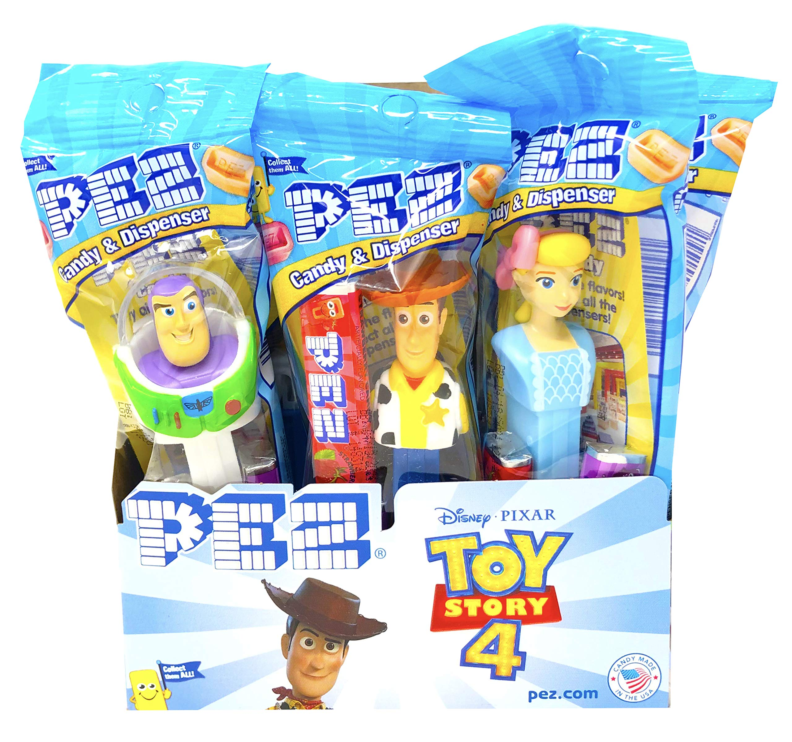 PEZ Toy Story 4 Candy Dispensers Individually Wrapped PEZ Candy and Dispensers with Tru Inertia Kazoo 12 Pack