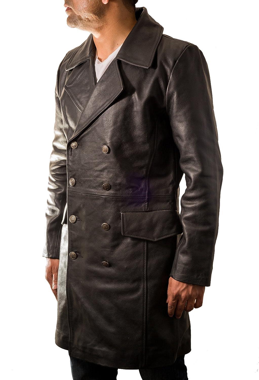 A to Z Leather Cappotto di Cuoio Nero del Mens Pelle Bovina in Stile Militare Tedesco Major Questo Cappotto Lungo e Doppio Petto.
