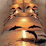 Dolphin in the Sea - 100% Cotton Bed Linen Luxury Oil Painting 3d Bedding Set Bed Clothes Queen and King Size.