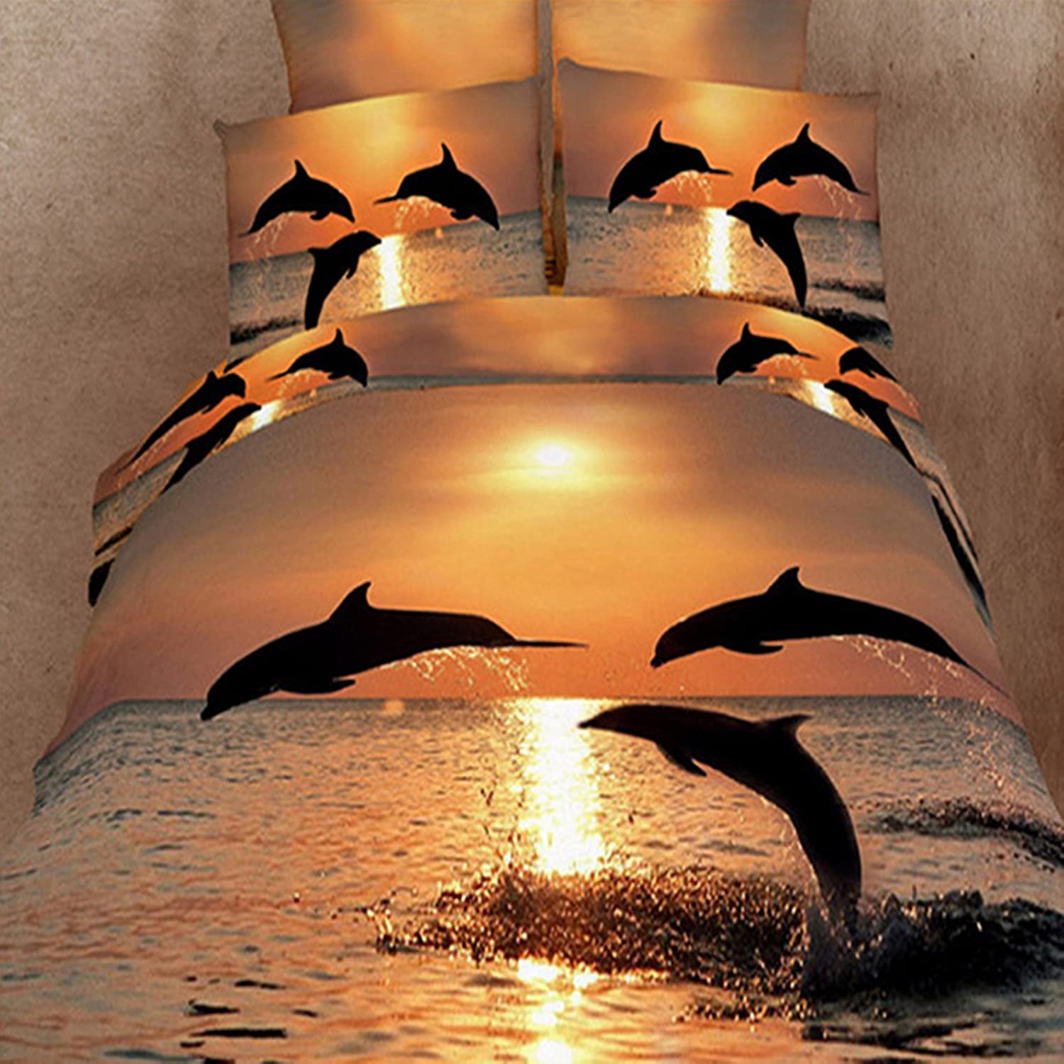 dolphin in the sea 100 cotton bed linen luxury oil