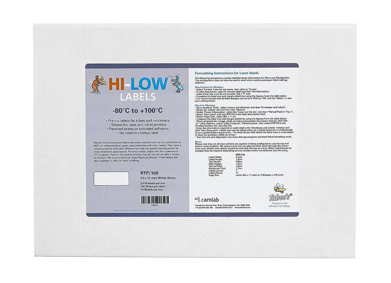 Camlab Plastics RTP/101 Tubee's Hi-Low Laser Labels, 25 x 13 mm, White (Pack of 2016) 1158137