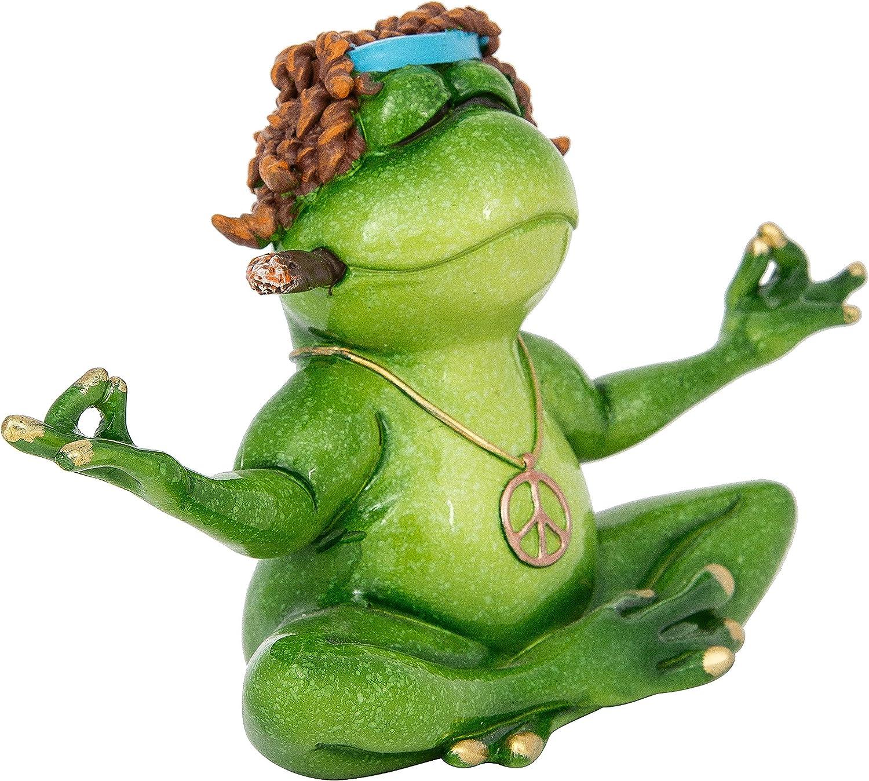 "DeJon Hippie Peace Frog Figurine Sitting in a Yoga Pose Peacefully Meditating 7"" X 4.5"""