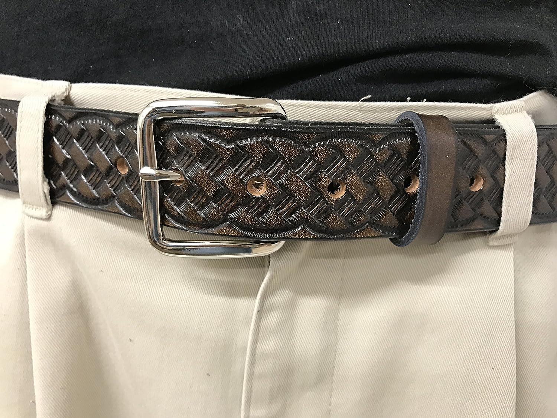 Weave Design Handmade Mens Leather Belt Western Work Casual Belt 1.5 Wide Brown