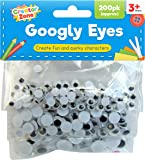 Creator Zone Wiggle Googly Eyes 600 Pieces   3 x 200pk Stick on Eyes in 3 Assorted Sizes