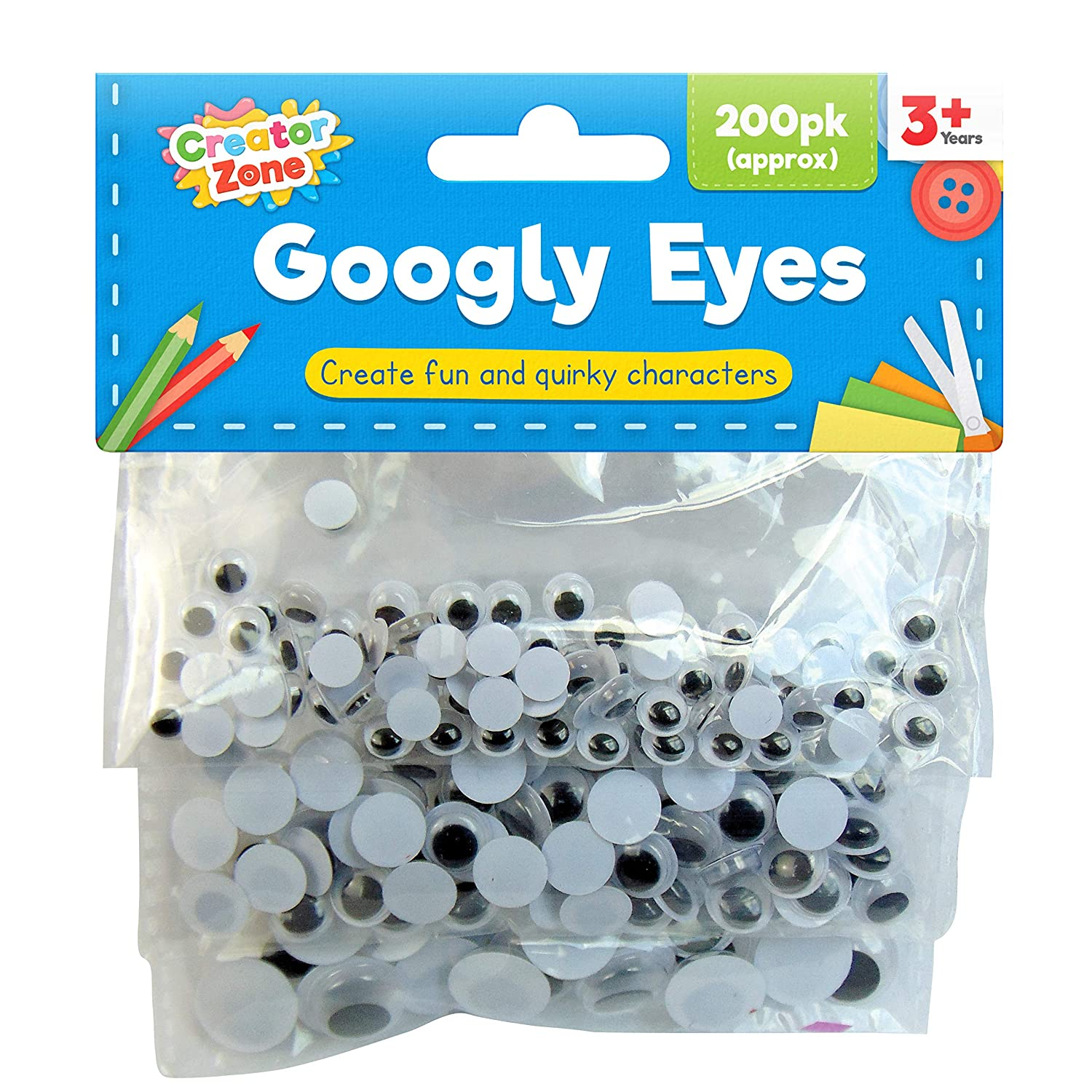Creator Zone Wiggle Googly Eyes 600 Pieces | 3 x 200pk Stick on Eyes in 3 Assorted Sizes .