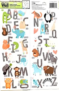 Animal Alphabet Wall Sticker | Happy Animals and Letters teach reading | DIY Self Sticking | Creative Decal | Bedroom Peel and Stick | Strong Vinyl