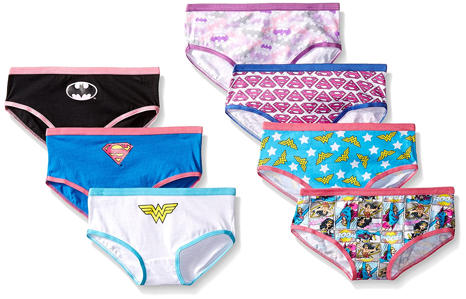 Handcraft Little Girls' Justice League Hipster Underwear (Pack of 7) GUP1734