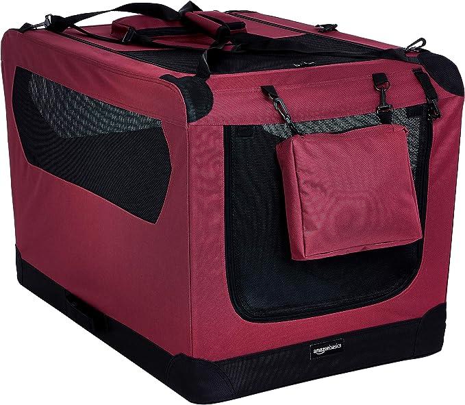 AmazonBasics – Transportín para mascotas abatible, transportable y suave de gran calidad, 91 cm, Rojo