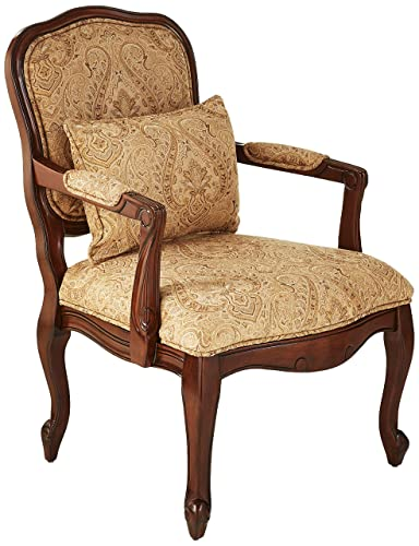 William s Home Furnishing Waterville Arm Chair, Beige Dark Cherry