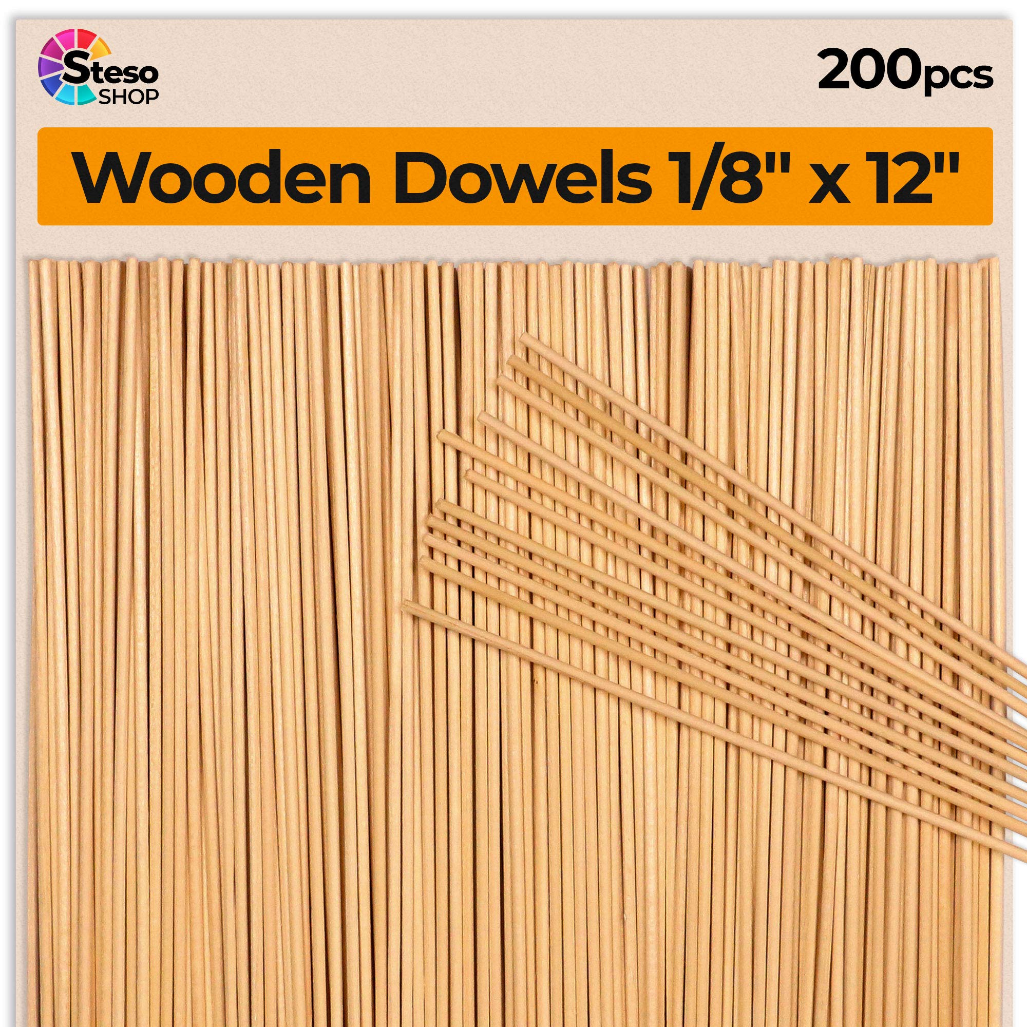 Galleon Wooden Dowel Rods 200 Pcs Wood Dowels 18 Inch Dowel