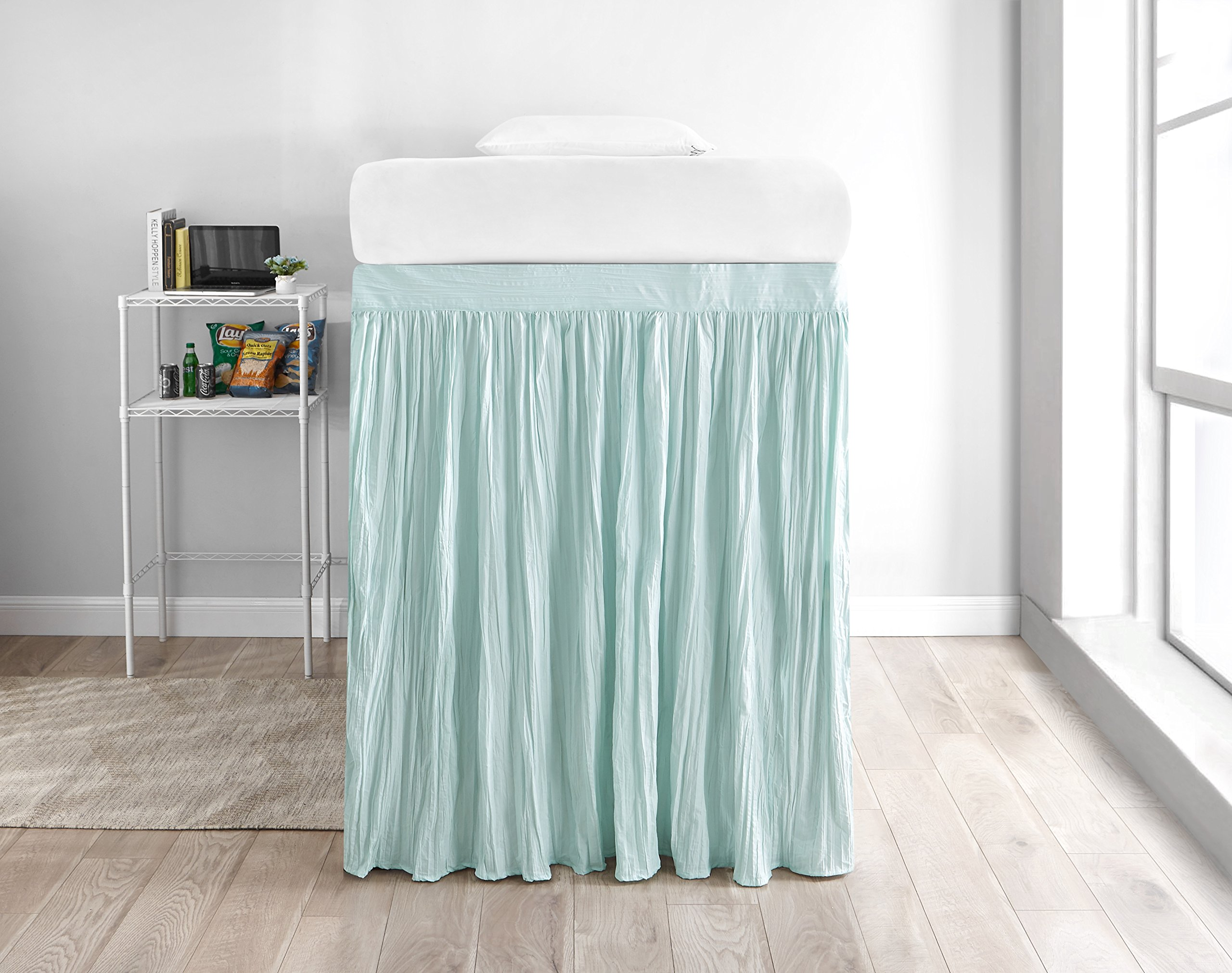 Crinkle Extended Dorm Sized Bed Skirt Panel with Ties (1 Panel) - Hint of Mint (For raised or lofted beds)