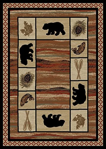 Rustic Lodge, Bear Cabin 8×10 Area Rug, 7 10 x9 10 Multi 7463