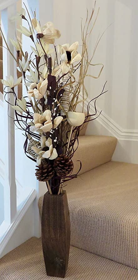 Cream And Chocolate Exotic Floral Arrangement Of Organic Handmade Flowers Indian Dried Grasses FREE